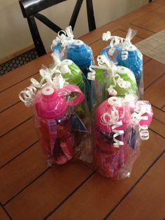 Water bottle favors filled with sports theme goodies