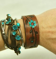 Leather Cuff Bracelet Painted Leather by GallimaufryClothing, $18.00