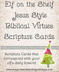 Elf on the Shelf Jesus Style Biblical Virtues Scripture Cards