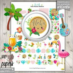 50%OFF - Summer Stickers, Planner Stickers, Printable Planner Stickers, Flamingo Stickers, Tropical Summer Sticker, Hawaii Stickers, Sticker