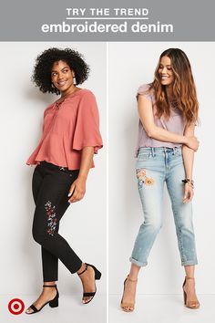 The best way to add instant personality to a pair of jeans? Embroidery. Whether it's delicate details added to a pair of black denim or vintage-inspired florals on a pair of light-wash jeans, it's the perfect way to draw attention to the one piece of your outfit that's rarely the statement-maker. To get the look, just style them with simple tops that share color tones with the embroidered detail—it's that easy.