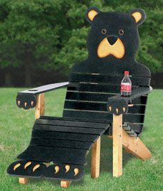 Full-size pattern to make this original bear chair & ottoman with easy painting and assembly instructions included only $17.95