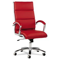 Red Office Chair Desk Swivel Tilt Faux Leather Chrome Modern Managers Furniture
