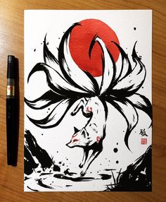 Art Drawings Sketches Simple, Pencil Art Drawings, Cute Drawings, Japanese Artwork, Japanese Tattoo Art, Fox Art, Art Sketchbook, Art Reference, Fantasy Art
