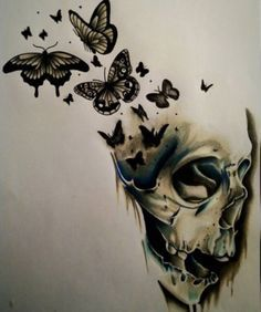 Cool Skull Tattoos For Women – My hair and beauty Skull Butterfly Tattoo, Butterfly Tattoo Designs, Skull Tattoo Design, Skull Design, Flower Skull, Tattoo Flowers, Skull Girl Tattoo, Bird Skull, Butterfly Art