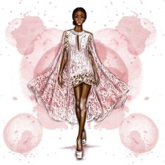 Date: Note: Inspirational drawing. A beautiful dress with a cape made all of lace fabric and with a solid and neutral color. Illustration Mode, Fashion Illustration Sketches, Fashion Sketchbook, Fashion Design Sketches, Fashion Art, Love Fashion, Manequin, Clothing Sketches, Fashion Figures