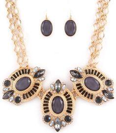 Black Smoke Crystal Multi GT Chain Bib Necklace Earrings Set Fashion Jewelry Set #FashionJewelry
