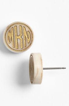 Monogram button earrings. I want these for Christmas in Tigers Eye/Gold @Vicki Wall