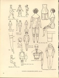 Antique Doll Joint Patents Black and White by amykristineprints