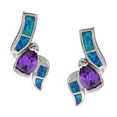 @Overstock.com - La Preciosa Sterling Silver Purple CZ and Created Blue Opal Earrings - A single pear-cut purple cubic zirconia stone adorns each of these La Preciosa earrings, accentuated by fancy-cut created blue opals. The earrings are crafted of sterling silver with a highly polished shine and butterfly backs.  http://www.overstock.com/Jewelry-Watches/La-Preciosa-Sterling-Silver-Purple-CZ-and-Created-Blue-Opal-Earrings/6510979/product.html?CID=214117 $29.32