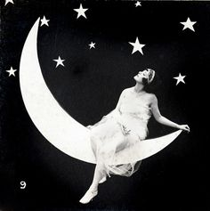 Lady on the Moon - Arcade Stereo Card - c.1920s