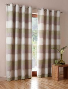 Stripe White Brown Curtain and Blinds Brown Curtains, Ikea Curtains, Blinds For Windows, Home Decor Fabric, Curtain Fabric, Sweet Home, Cushions, Room, Fabrics