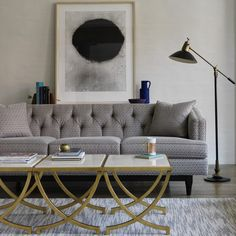 DwellStudio Chester Sofa ($2,970) ❤ liked on Polyvore featuring home, furniture, sofas, living room, rounded sofa, tufted couch, exposed wood frame sofa, rounded couch and dwellstudio