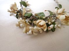 A Pretty Antique French Orange Blossom Wax Wedding Headdress C.1890