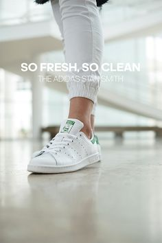 So fresh, so clean. The adidas Stan Smith. Established on the tennis court, Stan Smith started as a performance silhouette and progressed into a necessary piece to your closet, one that allows you to craft you aesthetic with a clean sneaker. How would you rock Stan Smith?