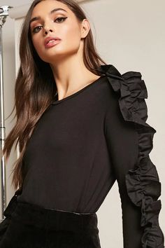 Product Name:Ruffle-Trim Knit Top, Category:CLEARANCE_ZERO, Price:28
