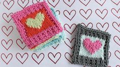 Knit by Bit: free Cotton Heart blanket square knitting pattern on LoveKnitting