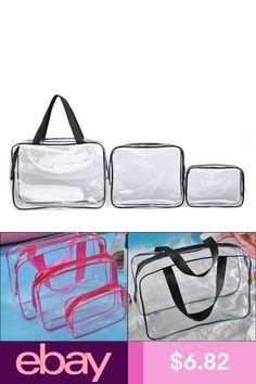 83f3580dee71 3pc Makeup Bags Cases Plastic Travel Tolietry Bag Clear PVC Zipper Bag