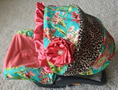 Infant Car Seat Cover - Coral Floral and Leopard