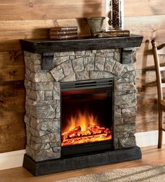 Plow & Hearth Holiday Home faux-stone-electric-fireplace-with-adjustable-heat-and-flame-settings Patio Heater, Fireplaces For Sale, Fireplace Surrounds, Christmas Fireplace, Faux Stone, Stone Fireplace Designs, Fireplace, Faux Fireplace, Rustic Room
