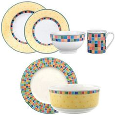 $179.95 Villeroy & Boch Twist Alea Limone 18 pc set by Villeroy & Boch,  COLLECTIBLE DISHWARE, GLASS AND WEDGEWOOD. If you would like to buy an item just click on amazon below the Pinterest Pin, this takes you right to the amazon page.  http://www.amazon.com/gp/product/B001AENN90?ie=UTF8=213733=393185=B001AENN90=shr=abacusonlines-20