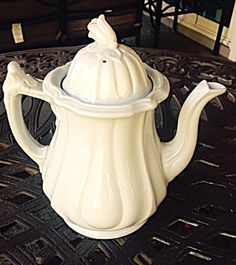 Furnival White Ironstone Teapot, Grand Loop, C. 1850 Decade