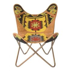 Butterfly Chair Kilim Marigold & Leather ($480) ❤ liked on Polyvore featuring home, furniture, chairs, occasional chairs, kilim chair, butterfly furniture, leather furniture, butterfly chair and flexible chair