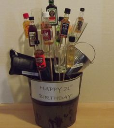 21st Birthday Bouquet complete with a puke bucket and hangover kit :)