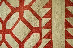 Detail, Pre Civil War Vintage Turkey Red White Garden Maze Antique Quilt Sawtooth BDR | eBay, french72