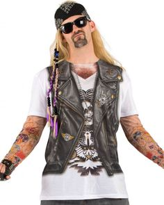 Halloween Men's Biker Tattoo With Mesh Sleeves Costume Shirt - (X Biker Costume, Star Costume, T Shirt Costumes, Cool Costumes, Costume Ideas, Dance Costumes, Biker T-shirts, Leather Biker Vest, Men's Leather