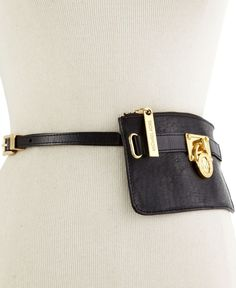 "MICHAEL Michael Kors Lock Charm Leather Belt Bag Black XL 40"" $78 #MichaelKors"