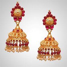 92.5 Silver wt 15.62 gm - Gold Plated Temple Jhumki Earring - Design: STJ-4 - Online Shopping for Earrings by Shoppe 1