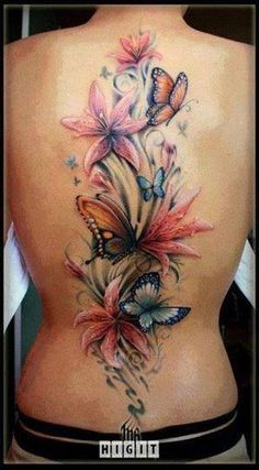 Sexy fem flowers and butterfly back