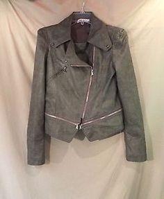 Designer Women's Motorcycle Jacket Gray Cross Zipper Dablju by Jiniy Junior L | eBay
