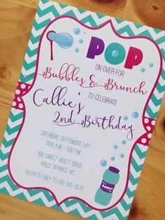 Set of 12 pop on over bubble birthday party by leslienashdesigns bubble party invitation bubble theme party invitation by bonbini filmwisefo