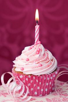 Pink birthday cupcake by RuthBlack. Cupcake decorated with a single pink candle Cupcakes Rosa, Pink Cupcakes, Cute Cupcakes, Party Cupcakes, Chocolate Cupcakes, Happy Birthday Cupcakes, Pink Birthday, Happy Birthday Wishes, Free Birthday