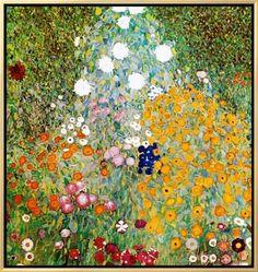 Framed Canvas Print: Flower Garden by Gustav Klimt : 26x25in