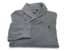 Polo Ralph Lauren L Men's Shawl Collar Gray Long Sleeve Cotton Sweater Pony #PoloRalphLauren #Polo