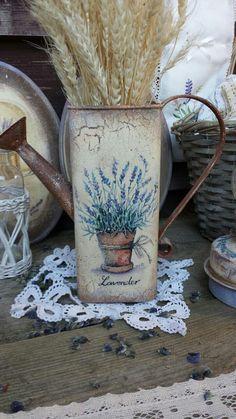 Купить 'Лаванда в горшочке' лейка. - лейка, лейка декупаж, Декупаж, ваза, ваза для цветов