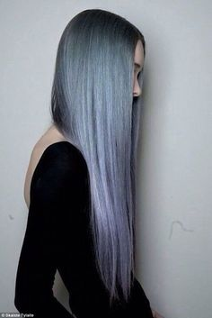Grey hair hairstyles - Skaiste Tylaite celebrated the grey hair trend by posting this image online of grey hair with purple tips