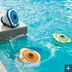 Set of Three Floating LED Pool Speakers - One Blue, One Green, One Orange - Fron modern home electronics Diy Outdoor Weddings, Outdoor Decor, Outdoor Ideas, Outdoor Living, Modern Home Electronics, Electronics Gadgets, Swimming Pool Accessories, Pool Picture, Swimming Pools Backyard