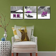 Canvas Wall Art Landscape Oil Painting Purple Black White Water Ocean Beach New  #NuolanArt