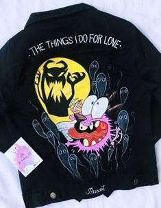Painted Jeans, Painted Clothes, Custom Clothes, Diy Clothes, Custom Denim Jackets, Demin Jacket, Mode Grunge, Battle Jacket, Denim Art