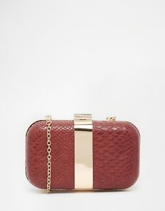 Image 1 ofLiquorish Faux Snakeskin Box Clutch Bag