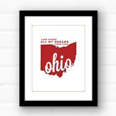 Ohio state decor  Ohio state wall art  Ohio by PaperFinchDesign