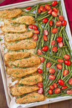 One Pan Roasted Garlic-Parmesan Chicken Tenders with Green Beans and Fresh Grape Tomatoes-Here's yet another one pan dinner you are simply going to love! This is the third one pan dinner I've posted in a row, I'm becoming slightly obsessed. Parmesan Chicken Tenders, Garlic Parmesan Chicken, Roasted Garlic, Roasted Chicken, Balsamic Chicken, Breaded Chicken, Lemon Chicken, Roast Chicken Tenders, Parmesan Salmon