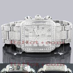 Luxurious Joe Rodeo Watches! This Madison Fully Paved Diamond Watch is paved in 12.00 carats of genuine diamonds, each masterfully set around the bezel, on the sides of the silver stainless steel case, lugs and the band. The dial is paved with sparkling diamonds and features three chronograph subdials and a date display at 4 o'clock. This luxurious Joe Rodeo Madison diamond watch is conveniently water resistant and comes with 2 extra watch bands in different colors.