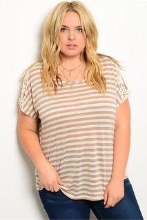 Curvy Cream Tan Stripe Top