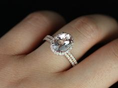 Original Federella 14kt Rose Gold Thin Oval Morganite Halo Wedding Set (Other metals and stone options available). $1,455.00, via Etsy.