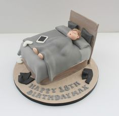 Boys 16th Birthday Cake, Creative Birthday Cakes, Bed Cake, Cake Design For Men, Fiesta Cake, Sleeping Boy, Shirt Cake, Happy Birthday Celebration, Crazy Cakes
